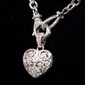 "925s Tacori ""Love My Heart"" Necklace White Topaz"